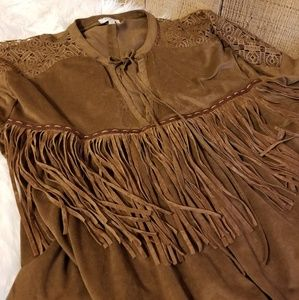 Umgee Soft Faux Suede Fringed Top. Large